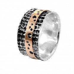 Кольцо из серебра Maasdam с золотой накладкой и чернением