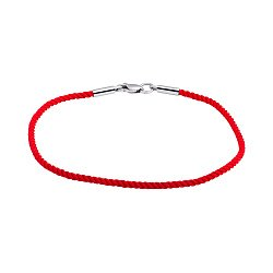 Плетеный шелковый браслет с родированной серебряной застежкой, 2мм 000057092