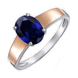 Серебряное кольцо с золотыми накладками и сапфиром 000136556