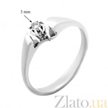 Золотое кольцо Николетт в белом цвете с бриллиантом 000029260