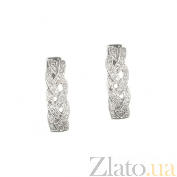 Золотые серьги с бриллиантами Плетение 1С551-0188