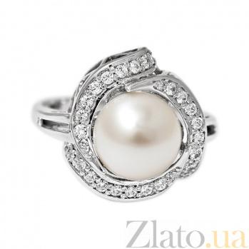 Золотое кольцо с жемчугом и цирконием Юнона 000029897