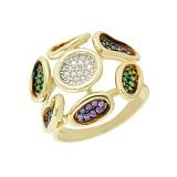 Золотое кольцо с фианитами Аэлита