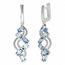 Серебряные серьги Арина с кварцем под лондон топаз, голубым кварцем и фианитами