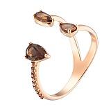 Золотое кольцо с раухтопазом и фианитами Альмира