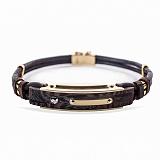 Кожаный браслет Дитар с эбеновым деревом, золотыми накладками и бриллиантом