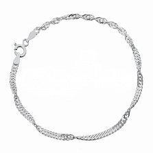 Серебряный браслет Фламенко с родием, 3 мм, 19 см