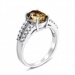 Серебряное кольцо с раухтопазом и фианитами 000134576