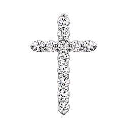 Золотой крестик в белом цвете с цирконием Swarovski 000049413