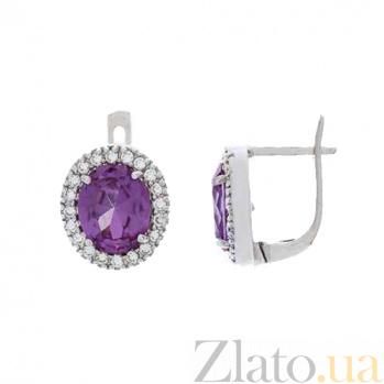 Серьги серебряные с фиолетовым александритом Сеона AQA-E00758Al