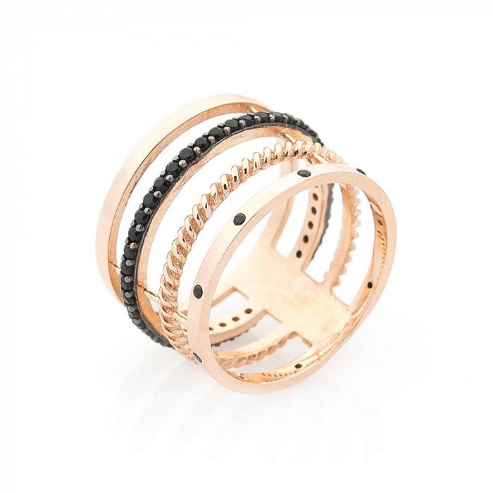 Золотое кольцо Тореа с фантазийной шинкой и черными фианитами 000082422