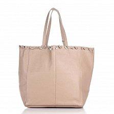 Кожаная сумка на каждый день Genuine Leather 8250 розового цвета на кулиске со съемным кошельком