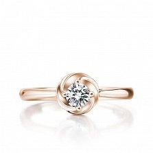 Помолвочное кольцо Эдельвейс в красном золоте с бриллиантом в закрученном касте