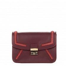 Кожаный клатч Genuine Leather 1603 бордового цвета с металлическим замком и плечевым ремнем