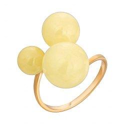 Позолоченное серебряное разомкнутое кольцо с тремя круглыми янтарями 000118971