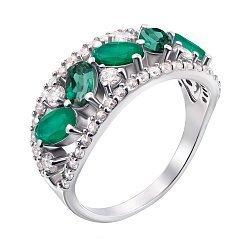 Серебряное кольцо Роскошь с зеленым агатом