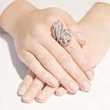 Серебряное кольцо с фианитами Листья