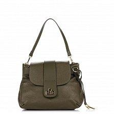 Кожаная сумка на каждый день Genuine Leather 8813 оливково-зеленого цвета на молнии под клапаном