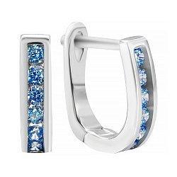 Серебряные серьги с синими фианитами 000028984