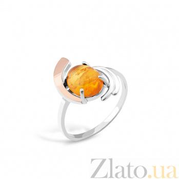 Серебряное кольцо Патрисия с золотой накладкой и янтарем 000066680