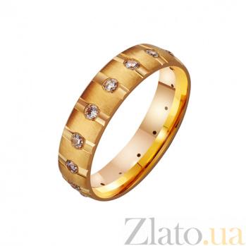 Золотое обручальное кольцо с фианитами  Сильные чувства TRF--4121306