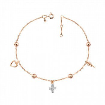 Золотой браслет с подвесками и фианитами 000149420