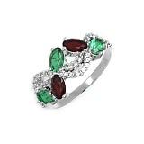 Серебряное кольцо Азалия с гранатом, зеленым кварцем и фианитами