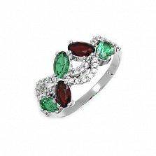 Серебряное кольцо Арина с гранатом, зеленым кварцем и фианитами