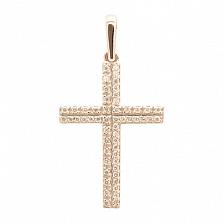 Крестик в желтом золоте Мироздание с фианитами
