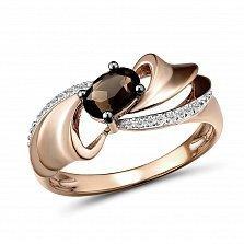 Кольцо из красного золота Дарина с бриллиантами и дымчатым кварцем