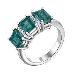 Кольцо из белого золота с изумрудами и бриллиантами 000136699