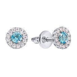 Серебряные серьги-пуссеты Солнышко с голубыми топазами и цирконием, 6мм 000012330