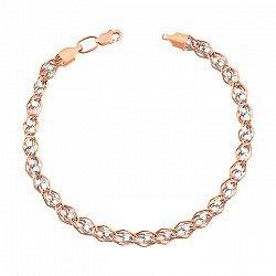 Золотой браслет в плетении Нонна Бисмарк с родированием 000056961