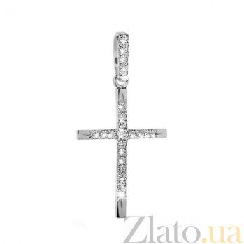 Декоративный крестик из белого золота с бриллиантами KBL--П313/бел/брил