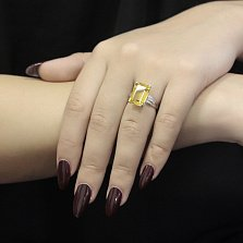 Серебряное кольцо Солнечное море с цитрином и белыми фианитами