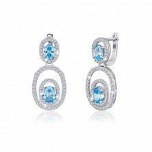 Серебряные серьги Матильда с голубыми и белыми фианитами
