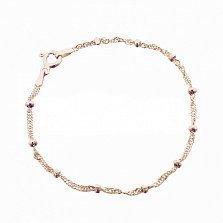 Серебряный браслет Лион в плетении сингапур с бусинами и позолотой