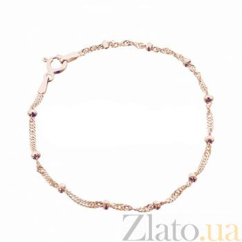Серебряный браслет Лион в плетении сингапур с бусинами и позолотой 000102765