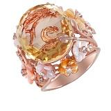 Золотое кольцо с кварцем, перламутром и бриллиантами Пастэль