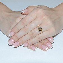 Золотое кольцо с бриллиантами Коньячный кварц