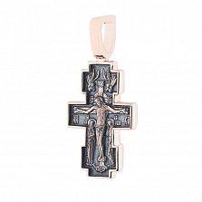 Золотой черненый крестик Восхваление с ангелами и Богородицей на тыльной стороне