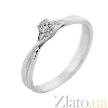 Золотое помолвочное кольцо Трепет любви в белом цвете с бриллиантом VLA--14719