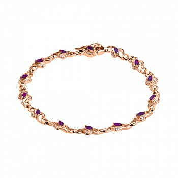 Золотой браслет с бриллиантами и рубинами 000022094