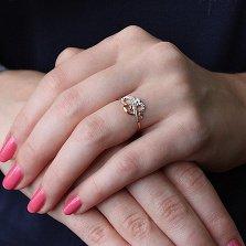 Золотое кольцо Волшебный цветок с цирконием