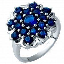 Серебряное кольцо Кибела с синтезированными сапфирами
