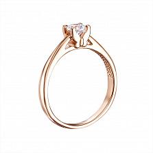 Золотое кольцо Альмира в красном цвете с цирконием Swarovski