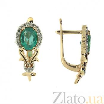 Золотые серьги с бриллиантами и изумрудами Наиль ZMX--EE-6620_K