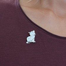 Серебряная брошка Кошечка с белой эмалью