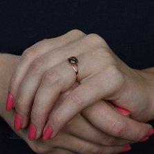 Золотое кольцо Кушон с раухтопазом