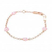 Золотой браслет Весенние цветочки с розовой эмалью